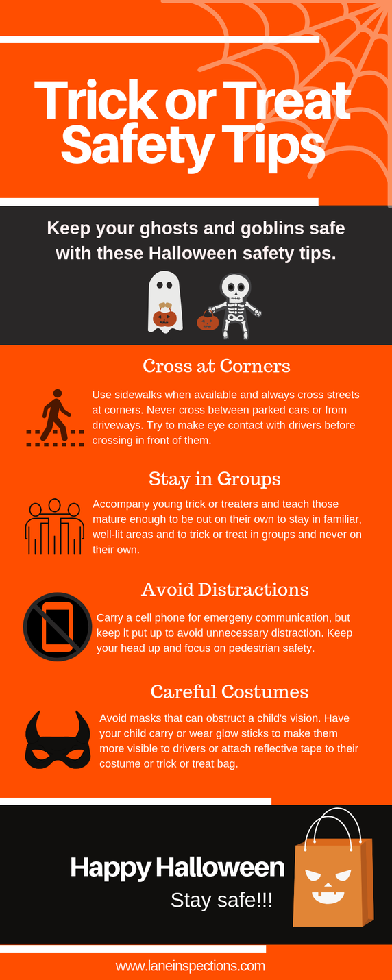 Trick or treat safety tips for Halloween.